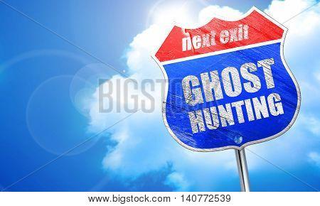 ghost hunting, 3D rendering, blue street sign