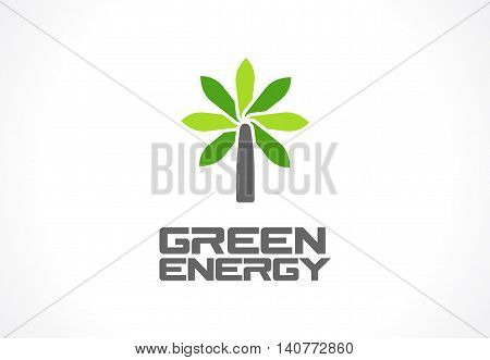 Abstract logo for business company. Corporate identity design element. Eco green, wind power, environment, growth flower tree logotype idea. Ecology electric generation concept. Colorful Vector icon
