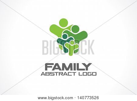 Abstract green logo for business company. Corporate identity design element. Healthcare, Social Media, Network logotype idea. People connect, family of 4, group of four, concept. Colorful Vector icon