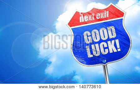 good luck, 3D rendering, blue street sign