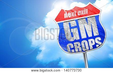 gm crops, 3D rendering, blue street sign