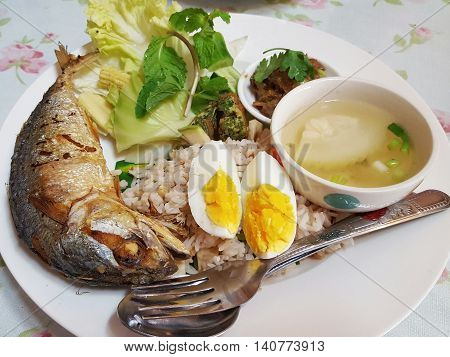 Chili paste with fried mackerel and vegetable Thai food,Thai food, Shrimp paste with fried mackerel and vegetable ,chili paste