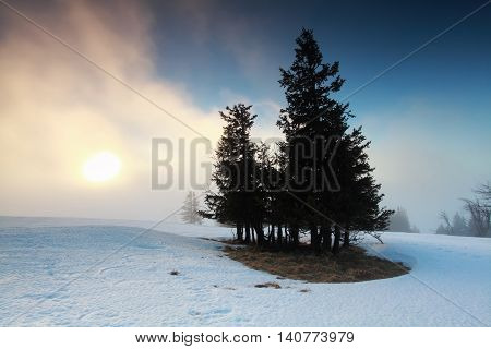 foggy sunrise in winter mountains Feldberg Germany