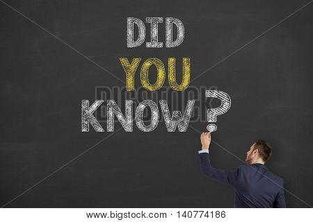 Did You Know on Blackboard Businessman Working Conceptual