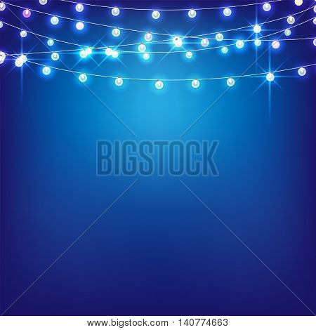 Vector set colored Marry Christmas and other holidays garlands star light on transparent blue background. Electric lighting for greetings.