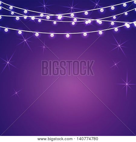 Vector set of Marry Christmas and other holidays garlands star light on transparent purple background. Electric lighting for greetings.