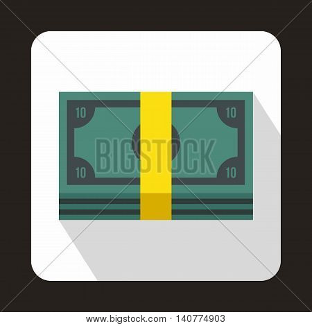 Bundle of money icon in flat style with long shadow. Finance symbol
