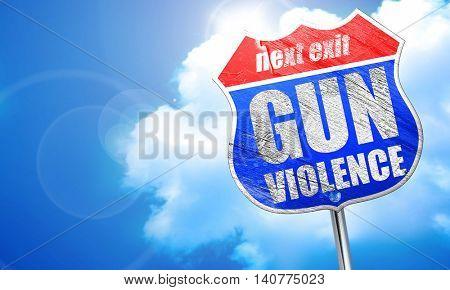 gun violence, 3D rendering, blue street sign