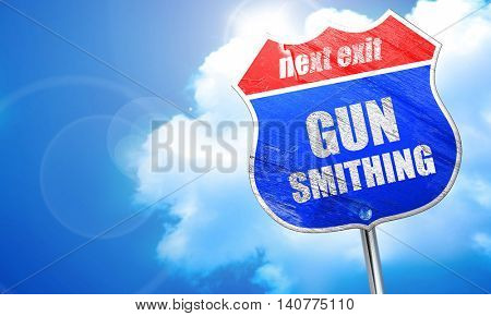 gun smithing, 3D rendering, blue street sign