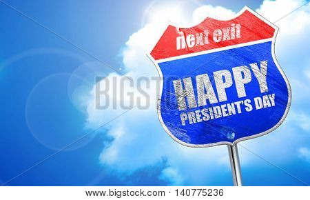 happy president's day, 3D rendering, blue street sign