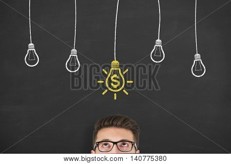 New Idea Finance Solution Concept on Blackboard Businessman Working Conceptual