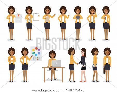 Set of black working people on white background. African businesswoman with gadgets in flat design people characters.