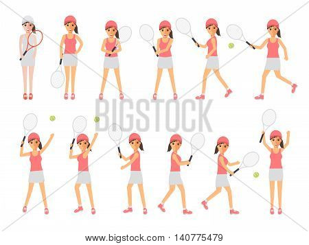 Female tennis sport athletes woman players playing training and practicing with tennis racket. Flat design people characters.