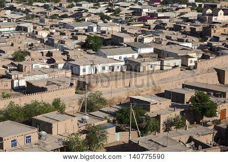 View over the city of Khiva in Uzbekistan.