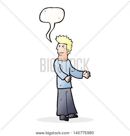 cartoon disgusted man with speech bubble