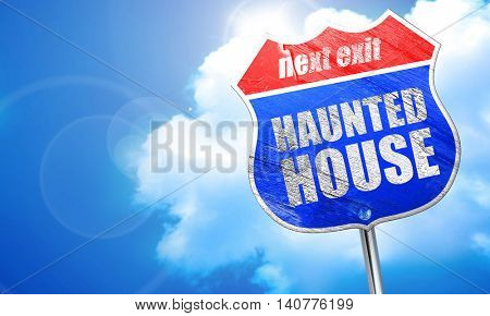 haunted house, 3D rendering, blue street sign