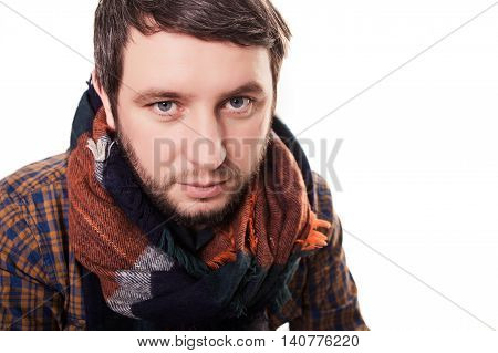 Man Cold. Ill Young Man With Red Nose, Scarf, Sneezing Into Handkerchief. Medication Or Drugs Abuse,