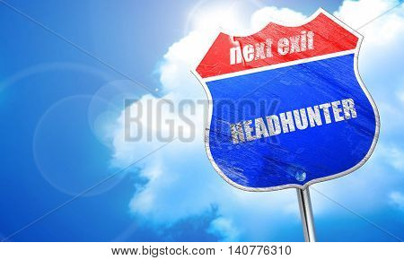 headhunter, 3D rendering, blue street sign