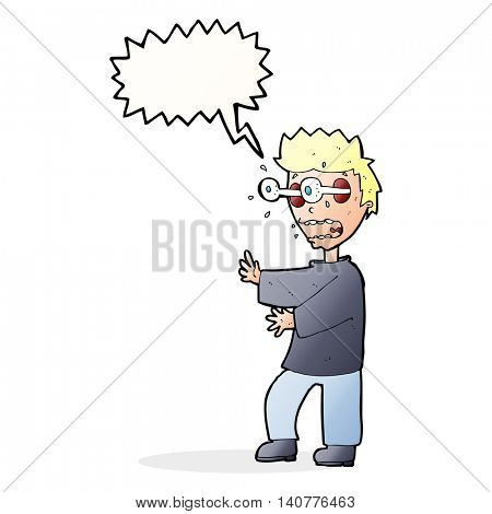 cartoon terrified boy with speech bubble