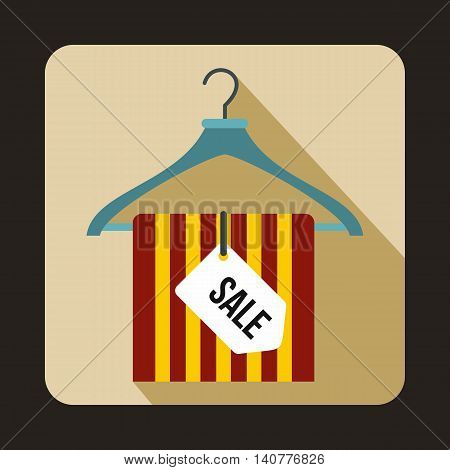Hanger with sale tag icon in flat style with long shadow. Sellout symbol