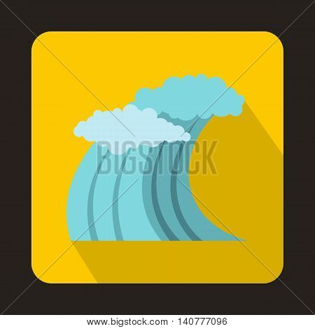 Wave icon in flat style with long shadow. Water and ocean symbol
