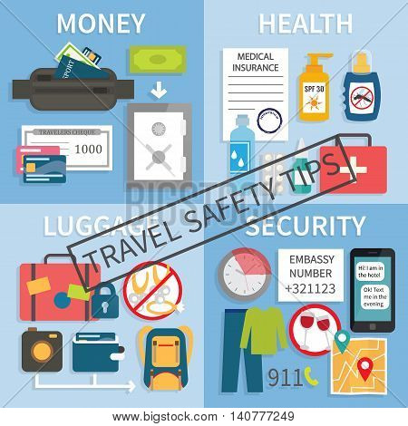 Safe travel tips. Safety rules during your journey about health, luggage, money and behaviour. Vector illustration