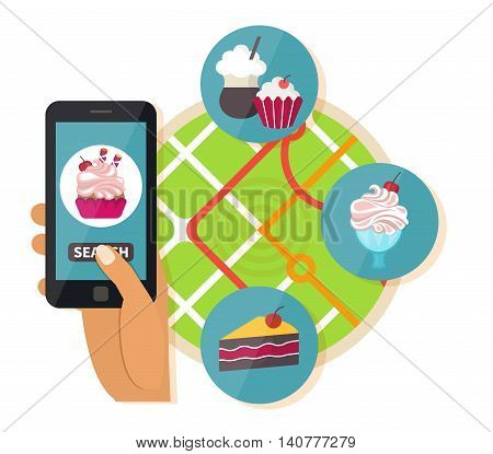 Online restaurant search. Navigation mobile technologies, online sweet food order. Vector illustration