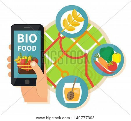 Online bio products search. Navigation mobile technologies, online food order. Vector illustration