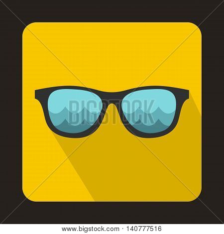 Sunglasses for surfing icon in flat style with long shadow. Accessory symbol