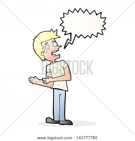 cartoon man making excuses with speech bubble