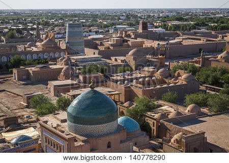 View from up above over the ancient city of Khiva in Uzbekistan.