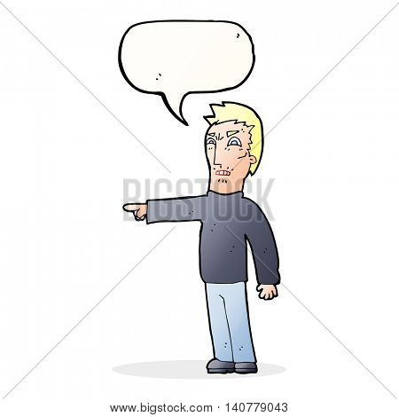 cartoon angry man pointing with speech bubble