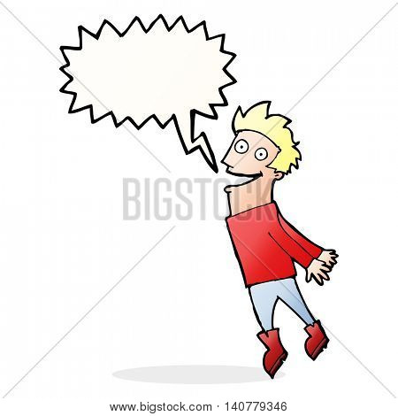 cartoon drenched man flying with speech bubble