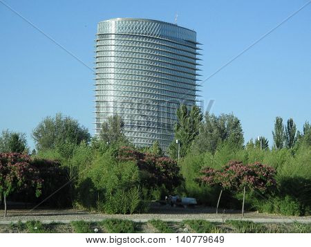 Torre del Agua. Edificio emblemático.  Bonito entorno. Zaragoza. España.