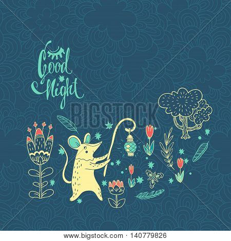 vector hand drawn illustration with cute character on wonderful flower meadow. mouse with lantern in magic forest