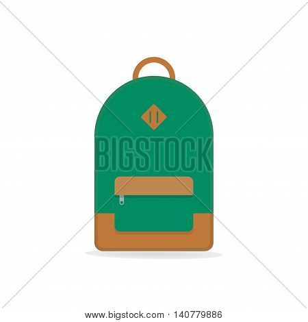 School backpack. Green backpack. Backpack isolated on white background