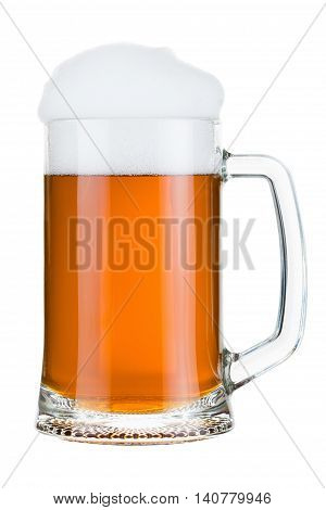 beer glass with froth isolated on white background