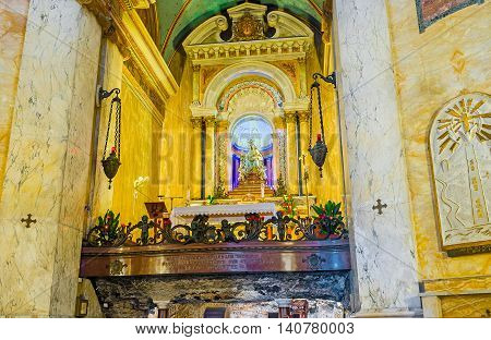 HAIFA ISRAEL - FEBRUARY 20 2016: The altar of Stella Maris Monastery located on the Carmel Mount on February 20 in Haifa.