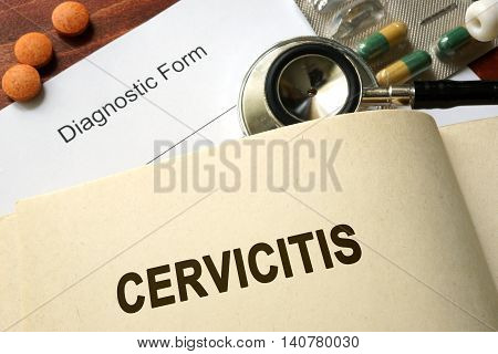 Page with word Cervicitis and glasses. Medical concept.