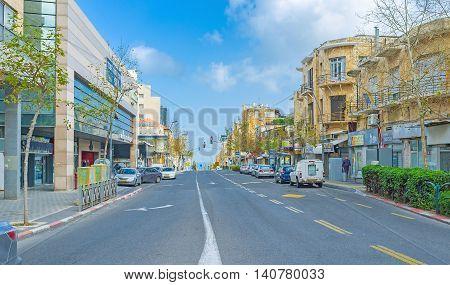 HAIFA ISRAEL - FEBRUARY 20 2016: The streets of Haifa are empty during Shabbat on February 20 in Haifa.