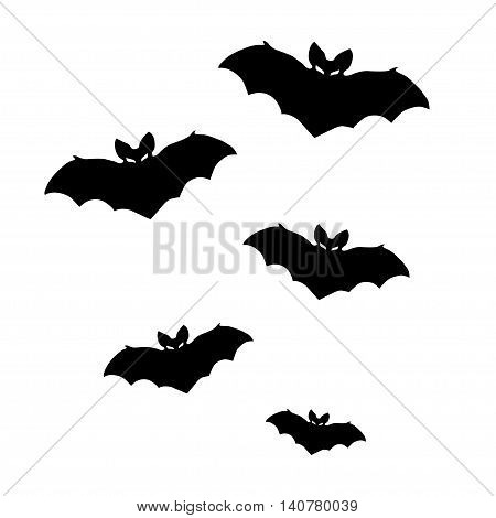 Vector silhouettes of bats on white background