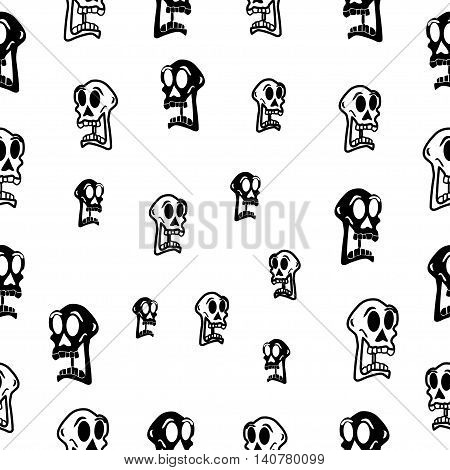 Seamless abstract pattern with skull on white background