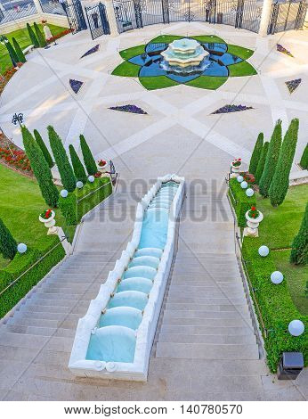 The Bahai Garden includes many staircases and terraces because it occupies the Carmel Mount Haifa Israel.