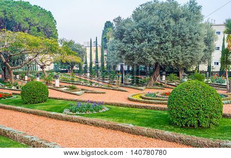 The largest in Haifa Bahai Gardens stretches along the of Carmel Mount Haifa Israel.