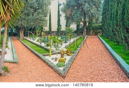 The Bahai Garden decorated with scenic cactus beds Haifa Israel.