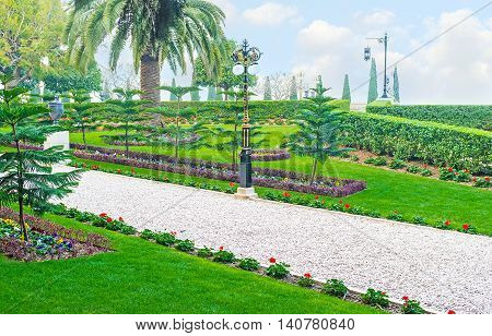 The Bahai Gardens in Haifa are one of the best examples of art of gardening Israel.
