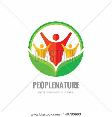 People nature - vector logo template. Abstract human character with green leaves.