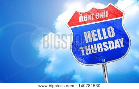 hello thursday, 3D rendering, blue street sign
