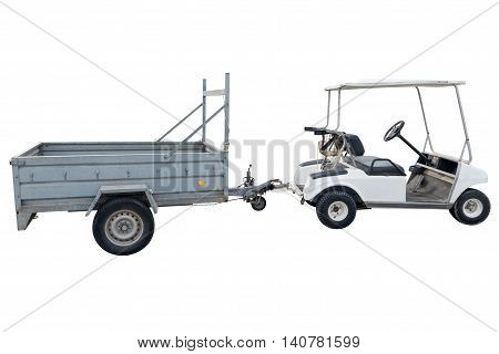 electric vehicle with a trailer for golf isolated on white background