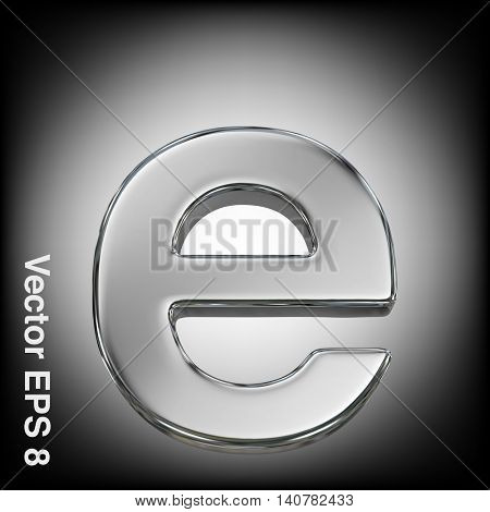 Vector letter e from metal alphabet. Lovercase metal font collection. EPS 8